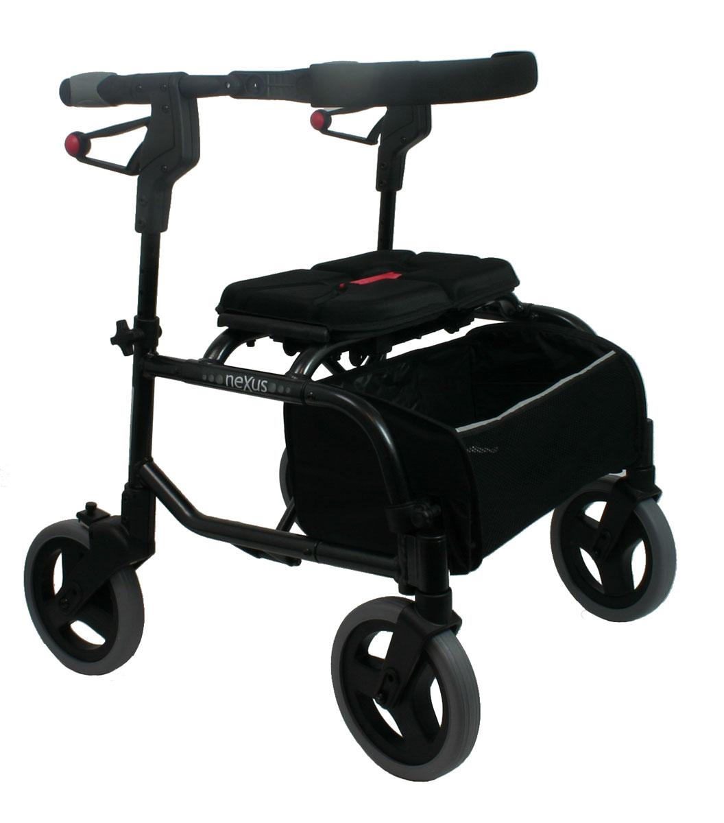 Rollator Nexus in schwarz mit Tragetasche