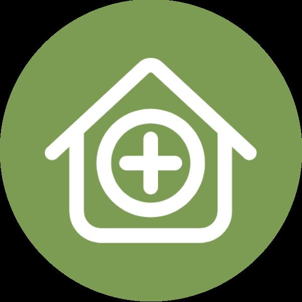 Pflege zu Hause Illustration grün weiß