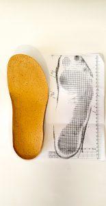 Orthopädischer Maßschuh Blaupause Trittspurabdruck mit Maßen