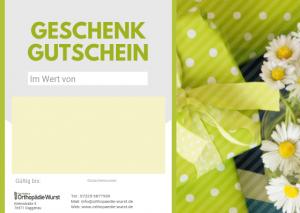 Sanitätshaus Frank Wurst Gutscheinvorlage