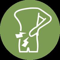 Rückenschmerzen Illustration grün weiß